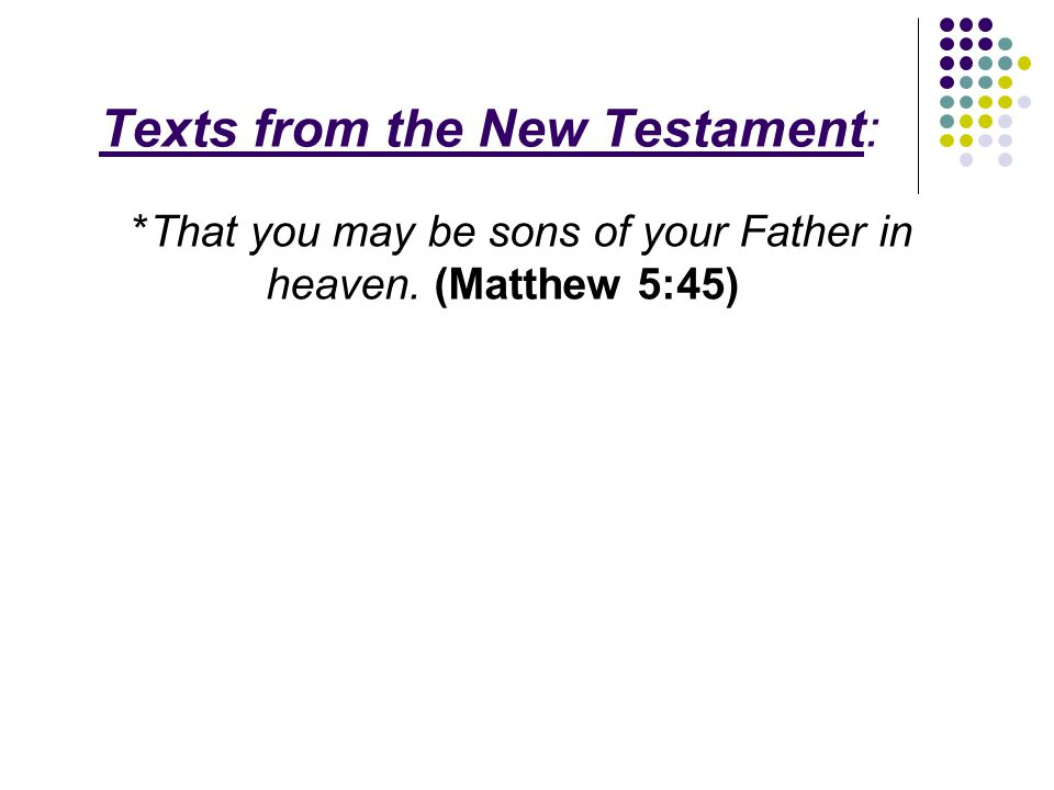 Texts from the New Testament: