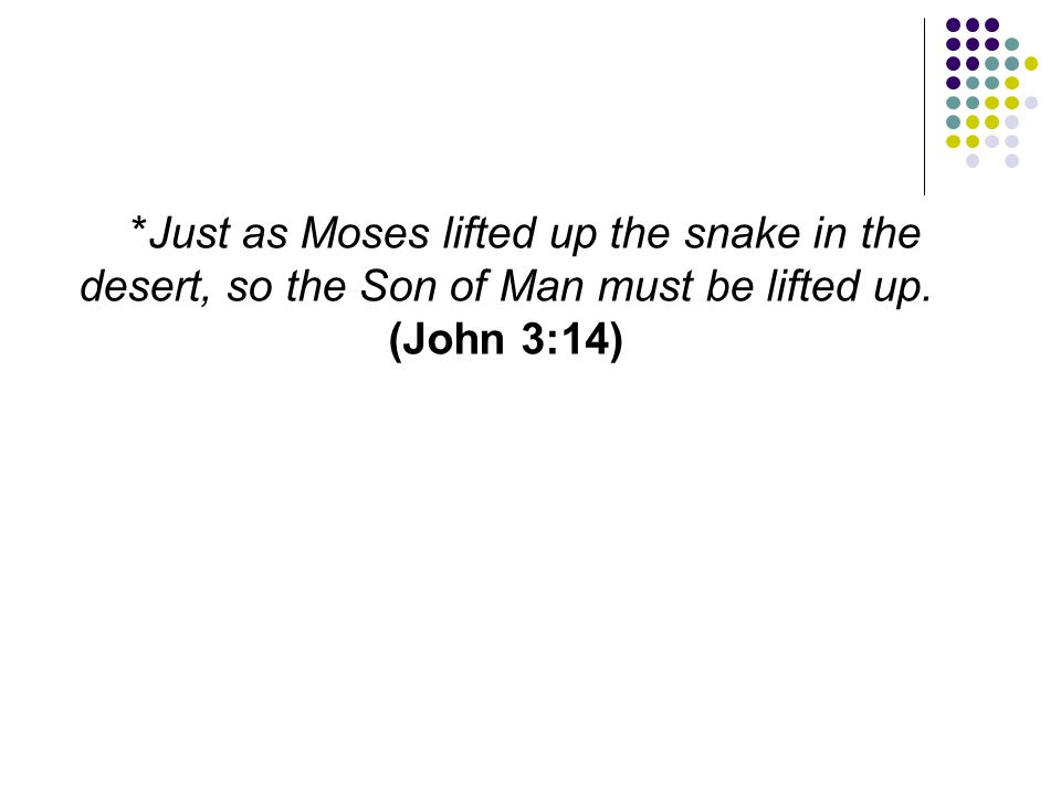 *Just as Moses lifted up the snake in the desert, so the Son of Man must be lifted up. (John 3:14)
