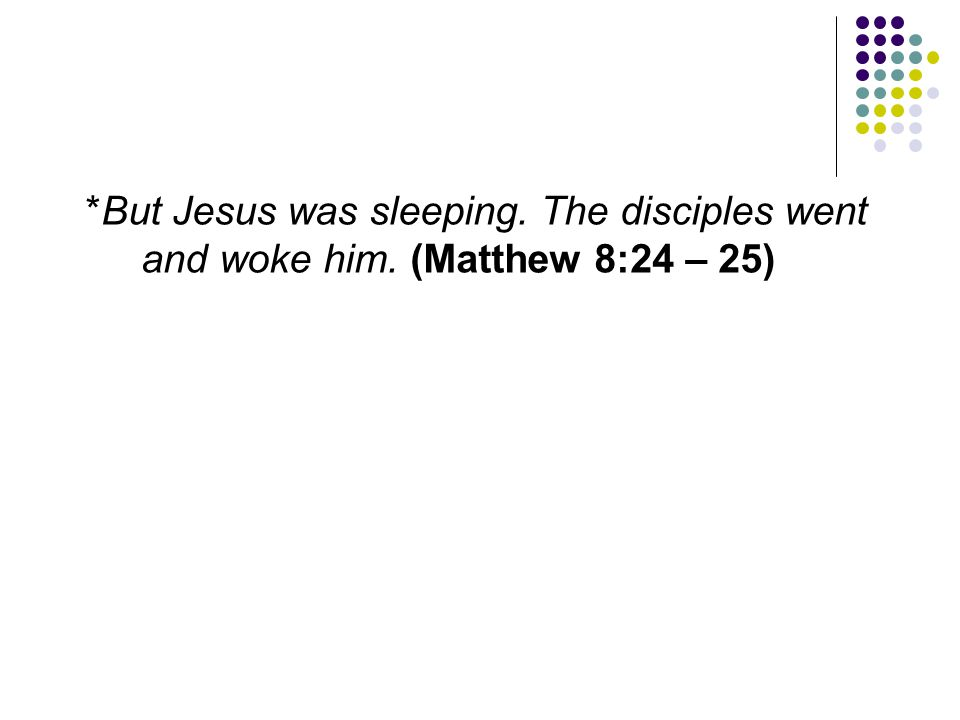 But Jesus was sleeping. The disciples went and woke him