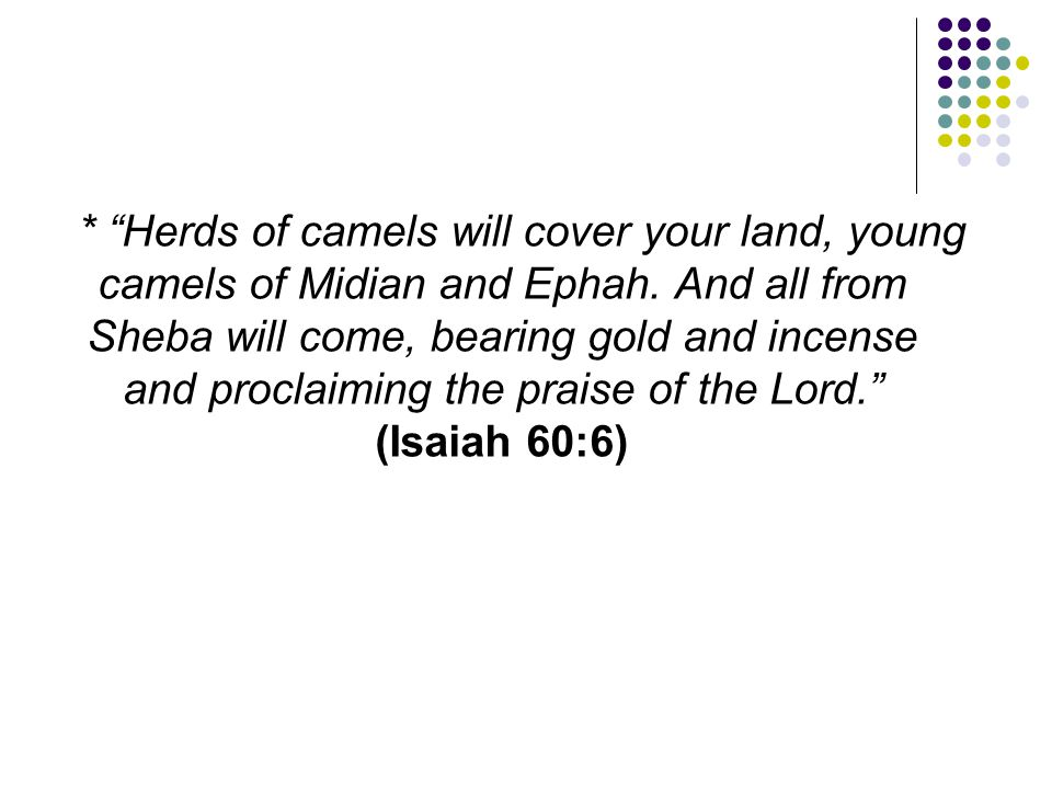* Herds of camels will cover your land, young camels of Midian and Ephah.