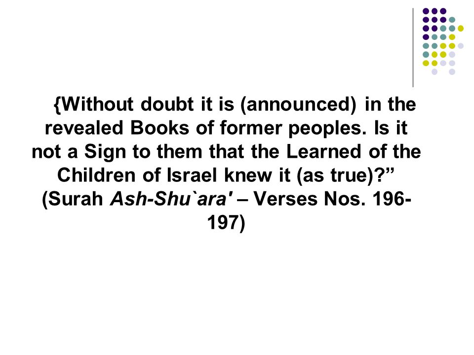 {Without doubt it is (announced) in the revealed Books of former peoples.