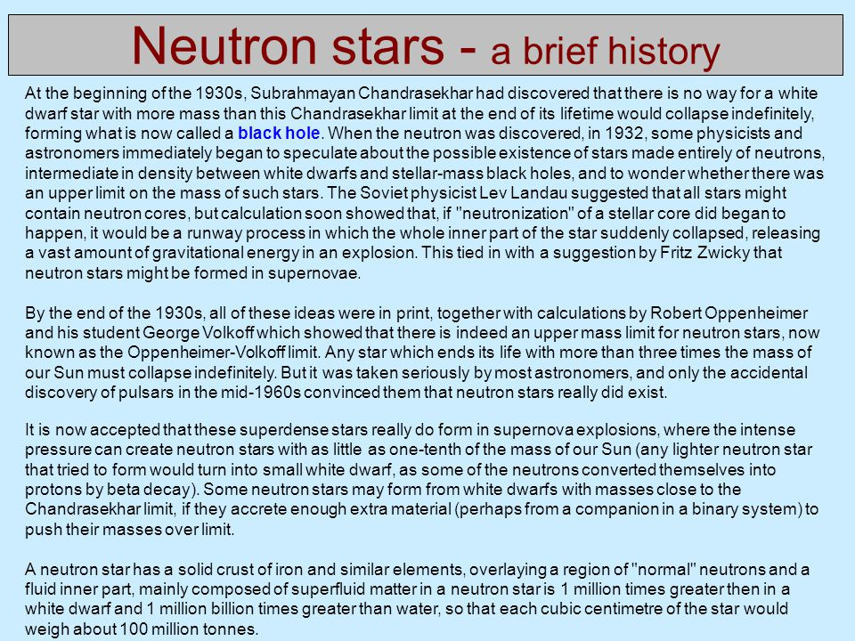 Neutron stars - a brief history