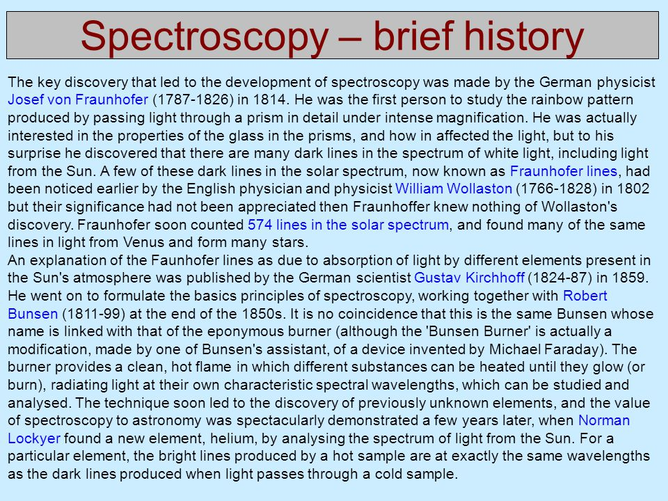 Spectroscopy – brief history