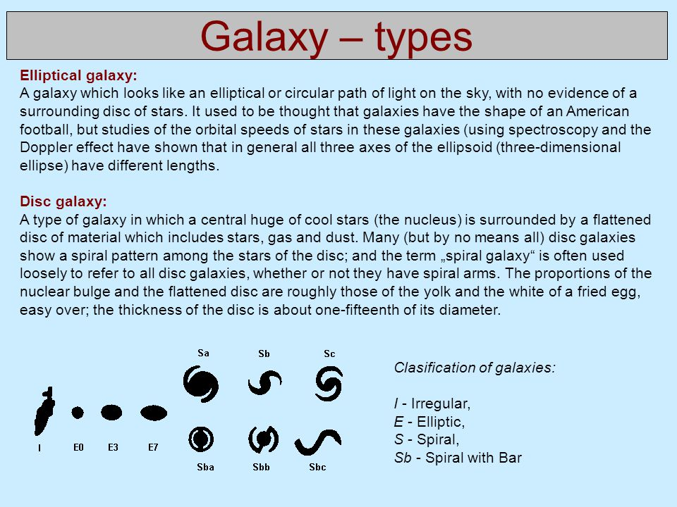 Galaxy – types Elliptical galaxy: