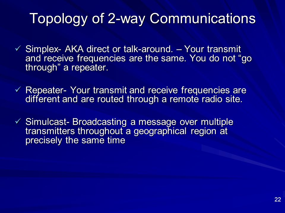 Topology of 2-way Communications