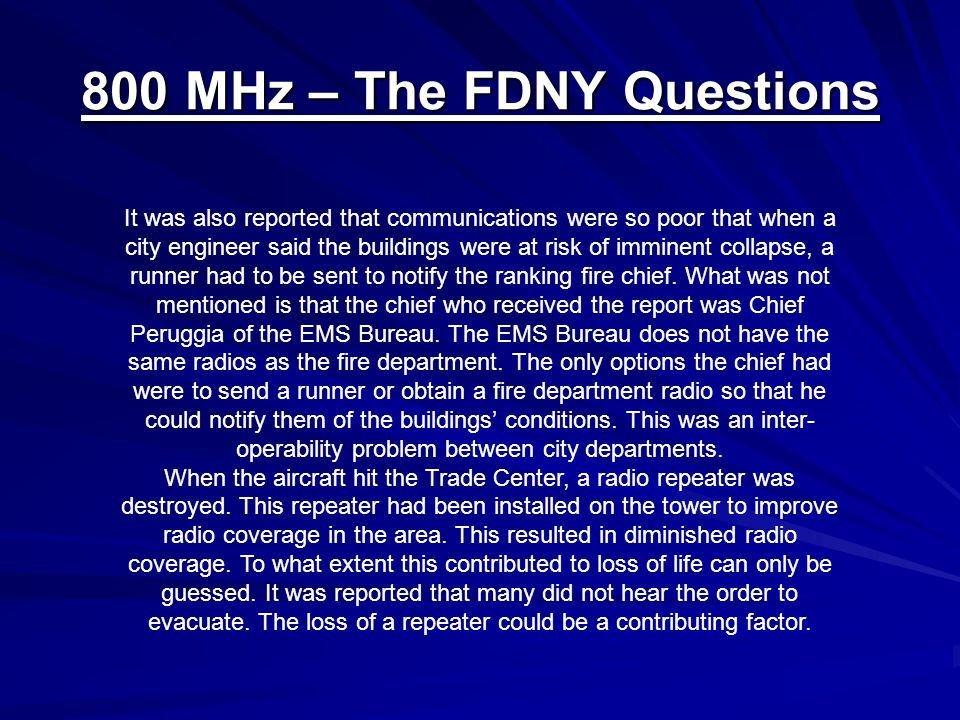 800 MHz – The FDNY Questions