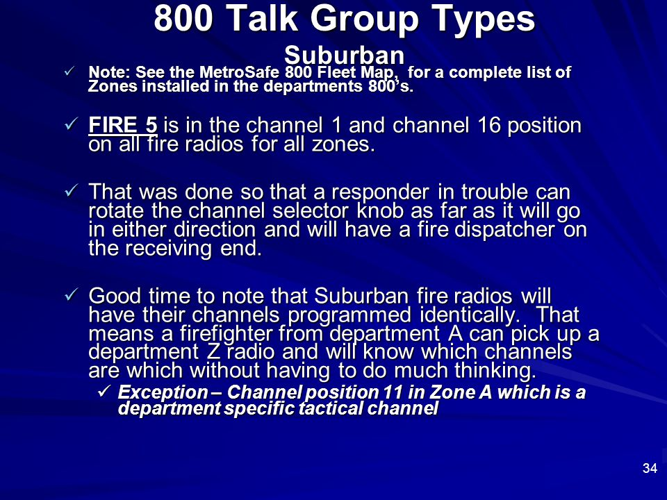 800 Talk Group Types Suburban