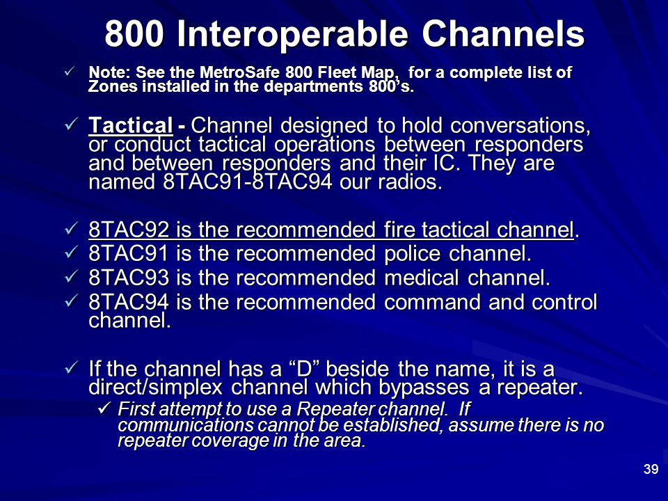 800 Interoperable Channels