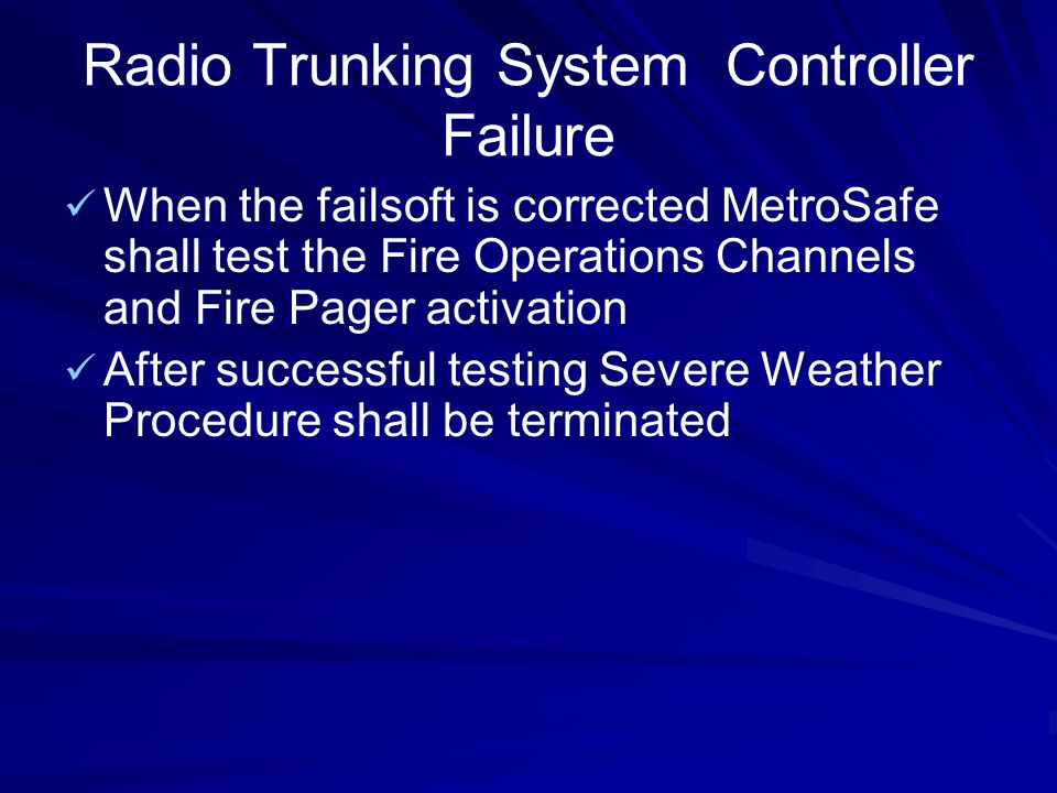 Radio Trunking System Controller Failure