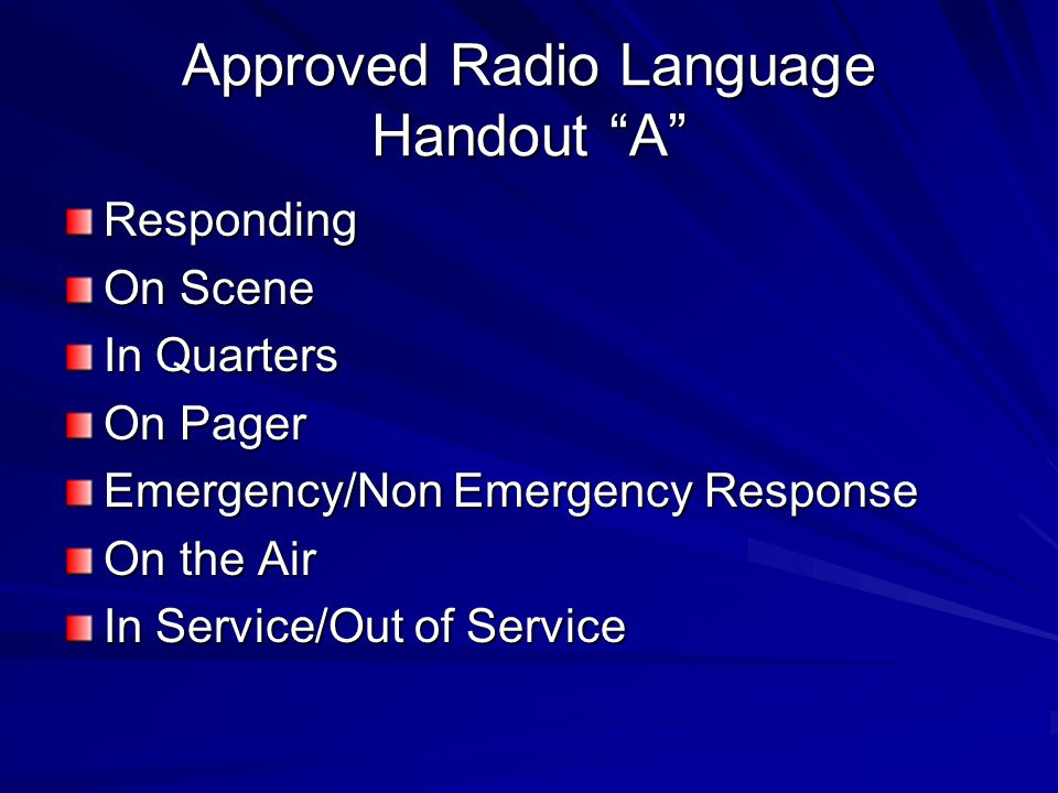 Approved Radio Language Handout A
