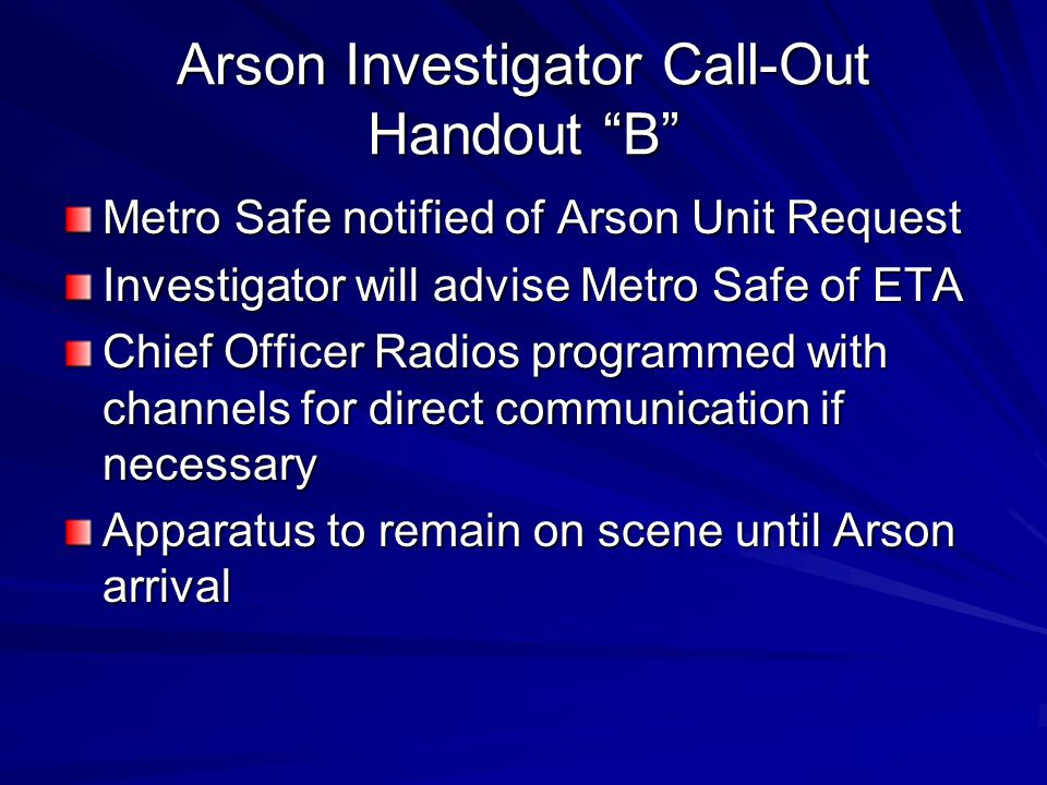 Arson Investigator Call-Out Handout B