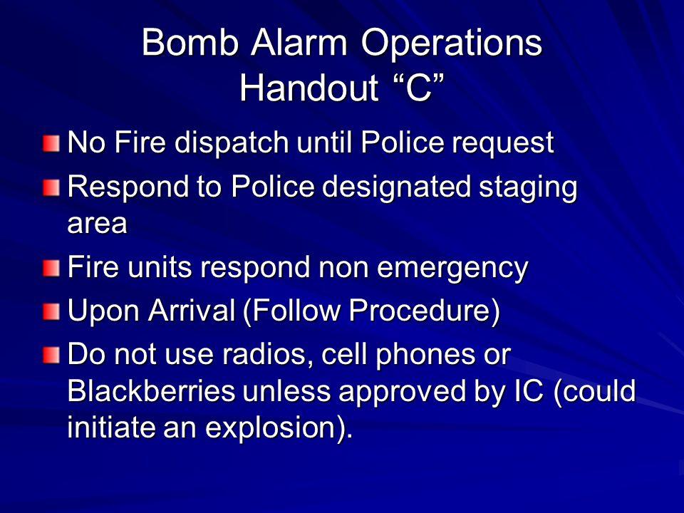 Bomb Alarm Operations Handout C