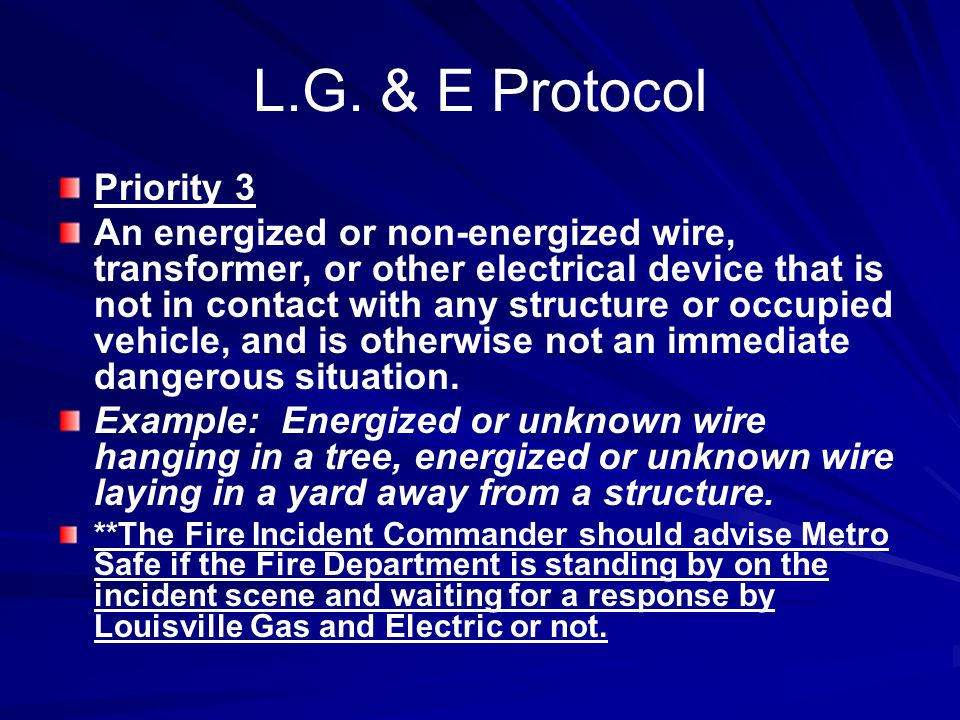 L.G. & E Protocol Priority 3