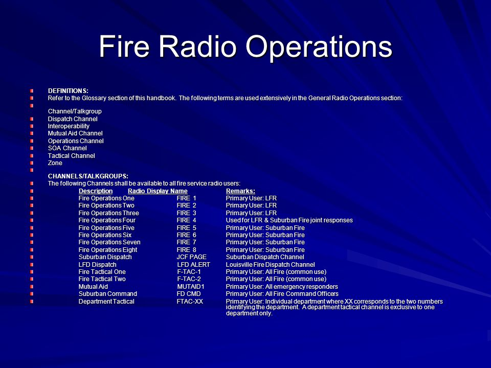 Fire Radio Operations DEFINITIONS: