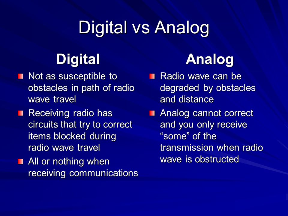Digital vs Analog Digital Analog