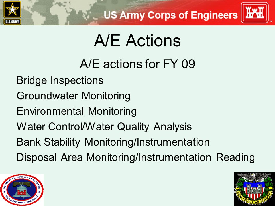 A/E Actions A/E actions for FY 09 Bridge Inspections