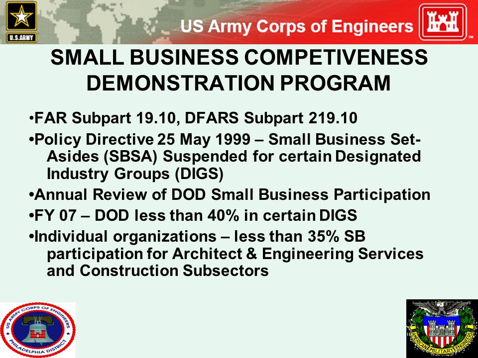 SMALL BUSINESS COMPETIVENESS DEMONSTRATION PROGRAM