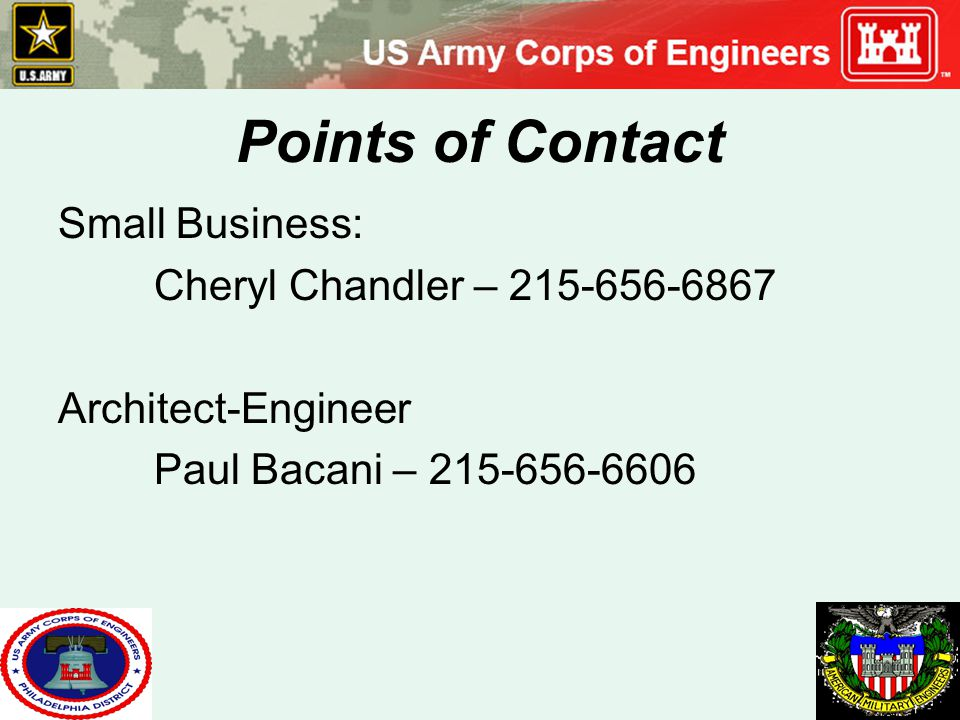 Points of Contact Small Business: Cheryl Chandler – 215-656-6867