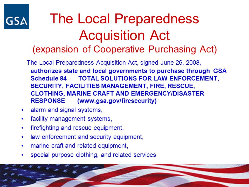 The Local Preparedness Acquisition Act (expansion of Cooperative Purchasing Act)