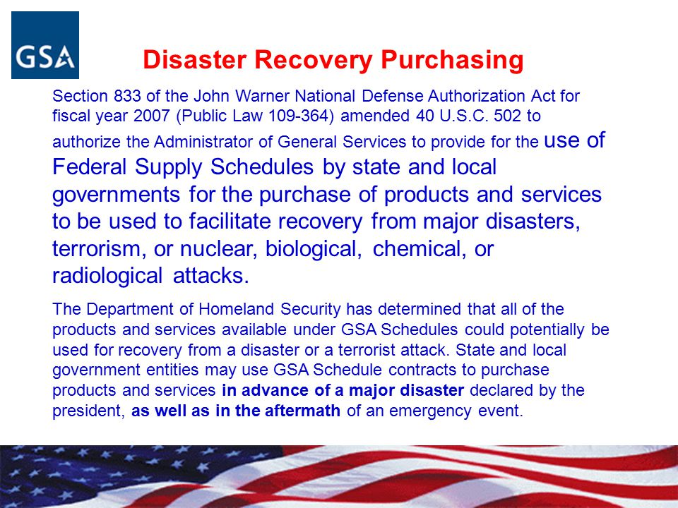 Disaster Recovery Purchasing