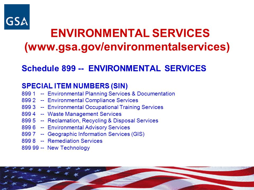 ENVIRONMENTAL SERVICES (www.gsa.gov/environmentalservices)