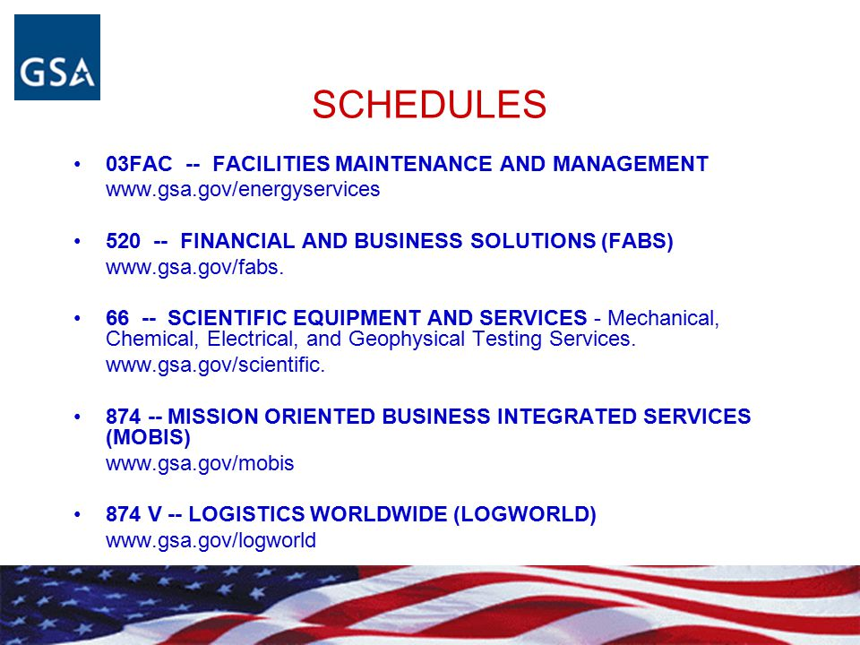 SCHEDULES 03FAC -- FACILITIES MAINTENANCE AND MANAGEMENT