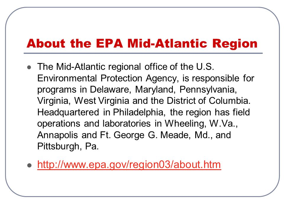 About the EPA Mid-Atlantic Region