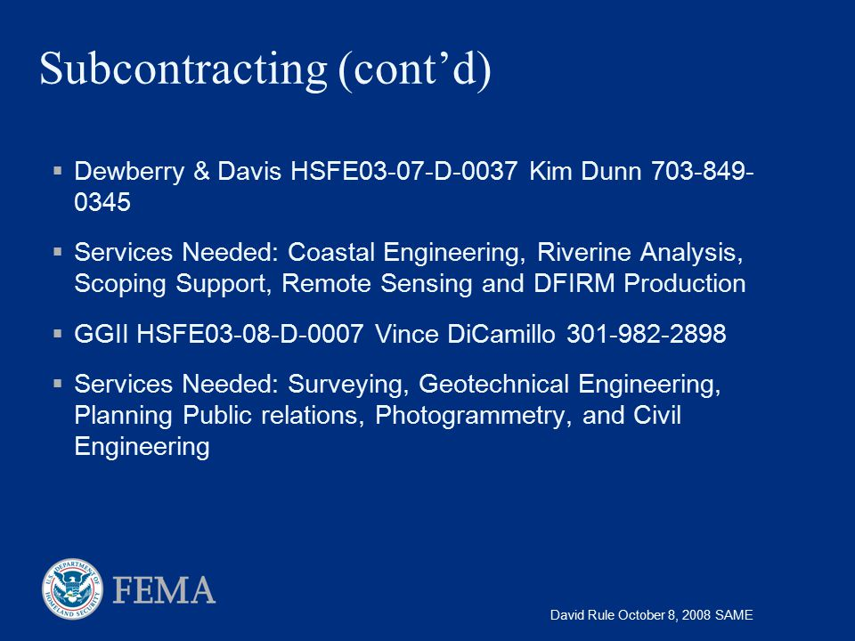 Subcontracting (cont'd)