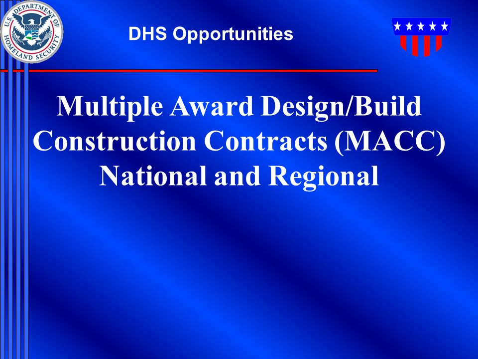 Multiple Award Design/Build Construction Contracts (MACC)