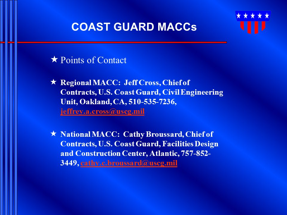 COAST GUARD MACCs Points of Contact