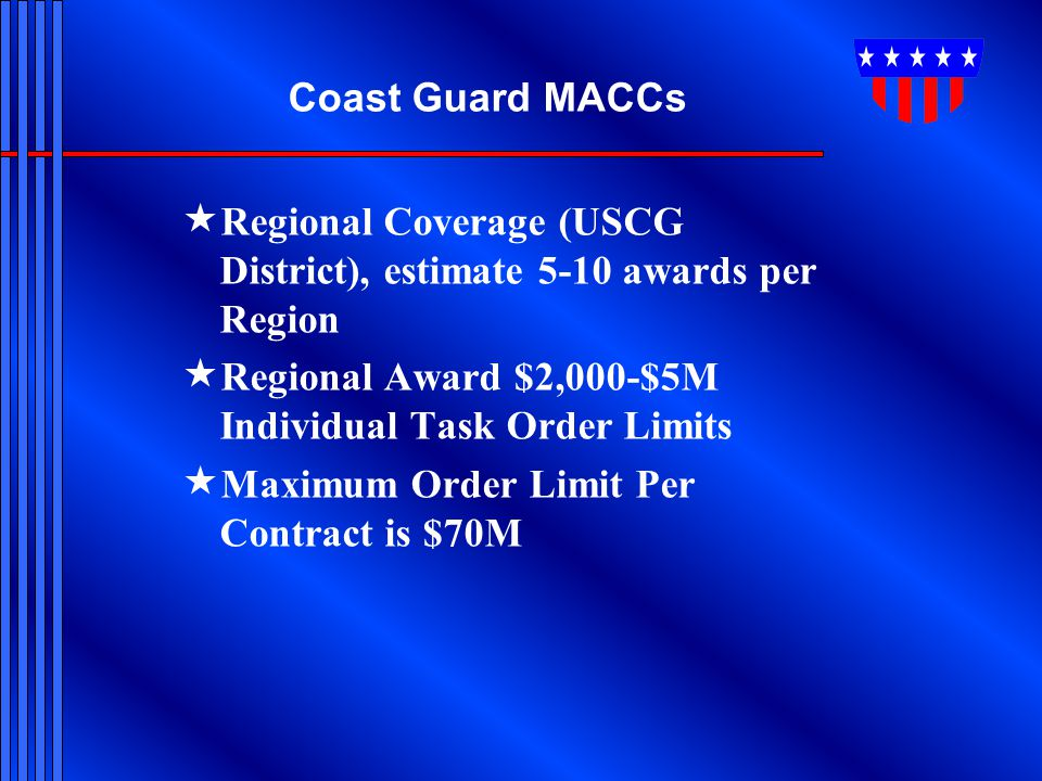 Coast Guard MACCs Regional Coverage (USCG District), estimate 5-10 awards per Region. Regional Award $2,000-$5M Individual Task Order Limits.