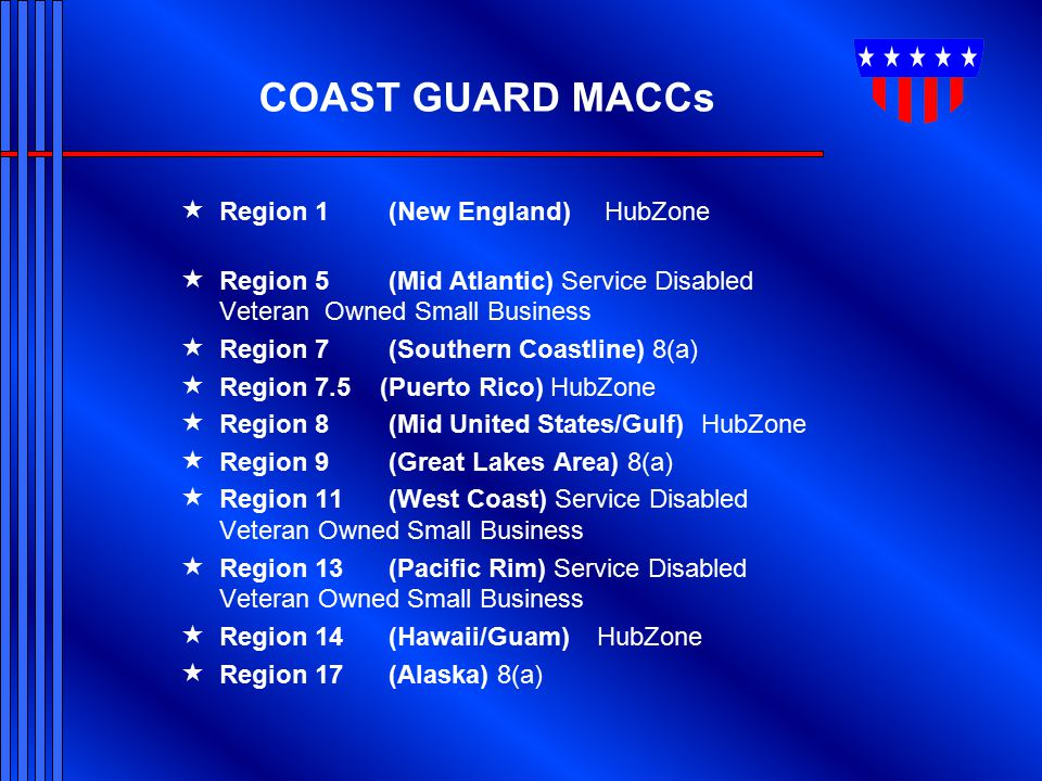 COAST GUARD MACCs Region 1 (New England) HubZone