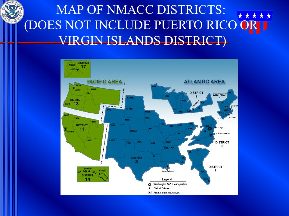 MAP OF NMACC DISTRICTS: (DOES NOT INCLUDE PUERTO RICO OR