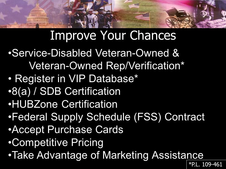 Improve Your Chances Service-Disabled Veteran-Owned &