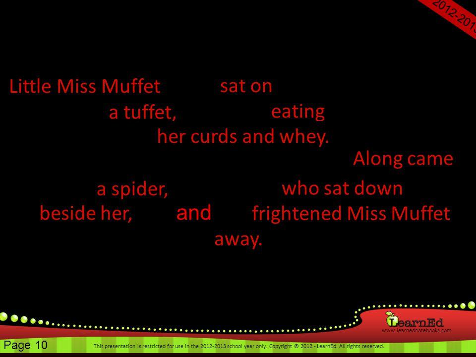 frightened Miss Muffet