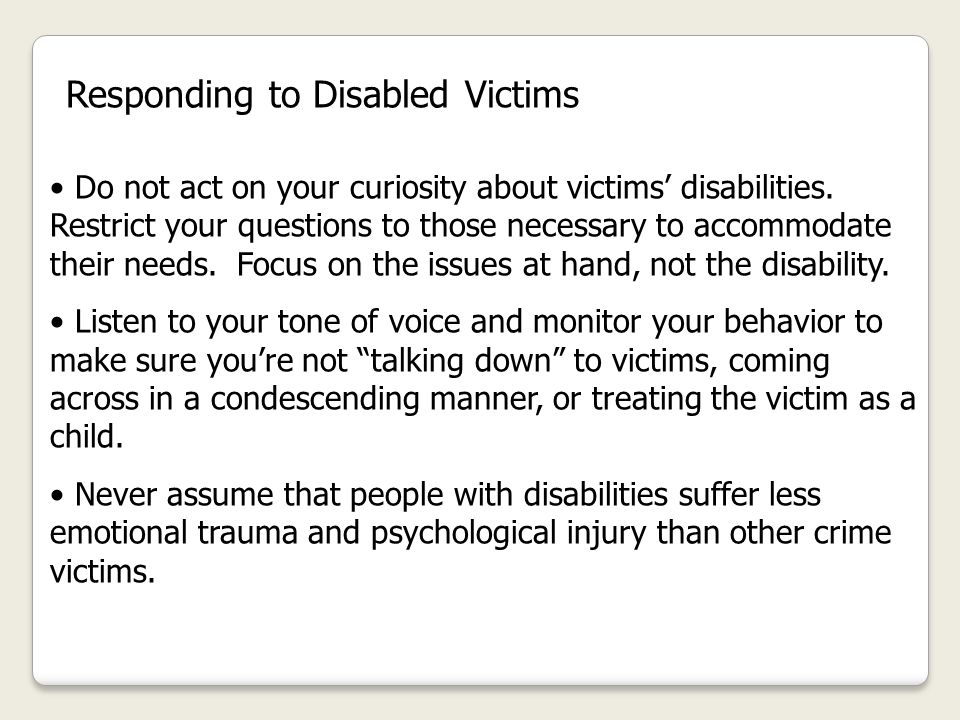 Responding to Disabled Victims