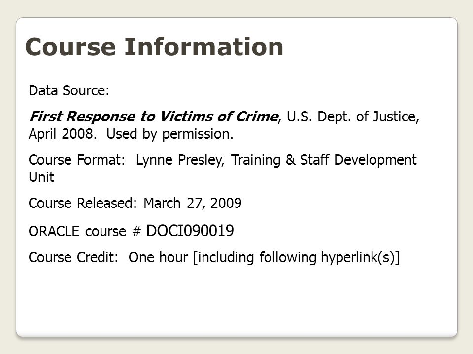 Course Information Data Source: