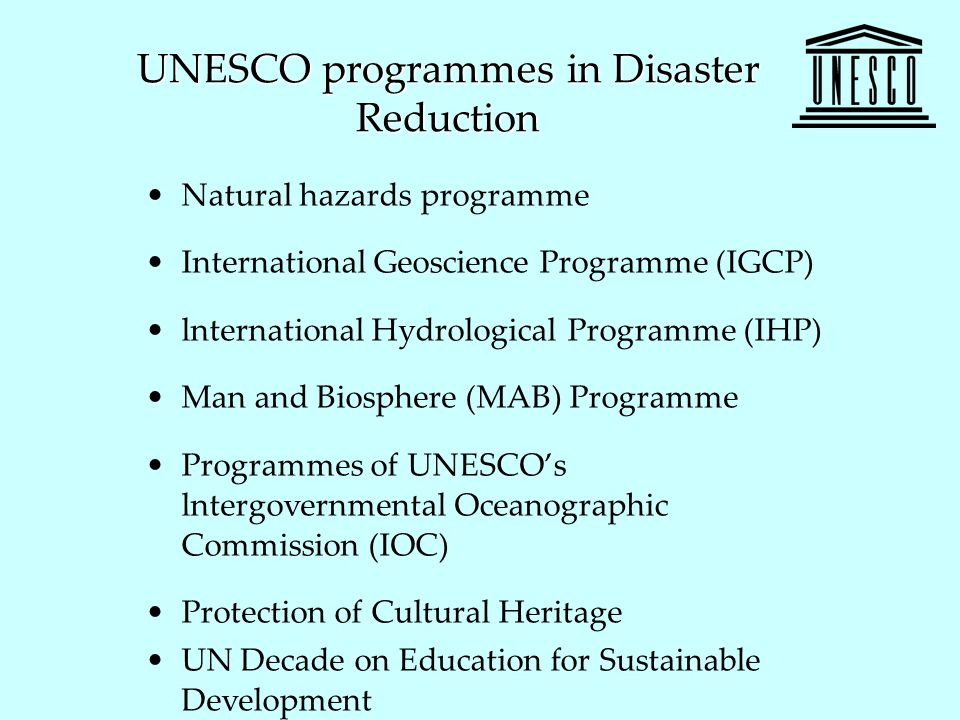 UNESCO programmes in Disaster Reduction