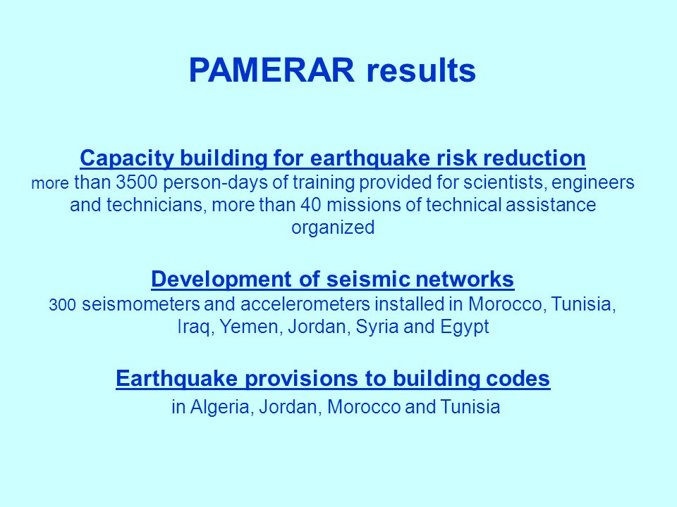 Capacity building for earthquake risk reduction