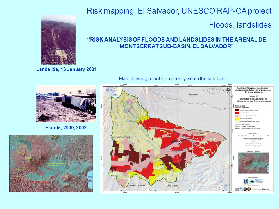 Risk mapping, El Salvador, UNESCO RAP-CA project Floods, landslides