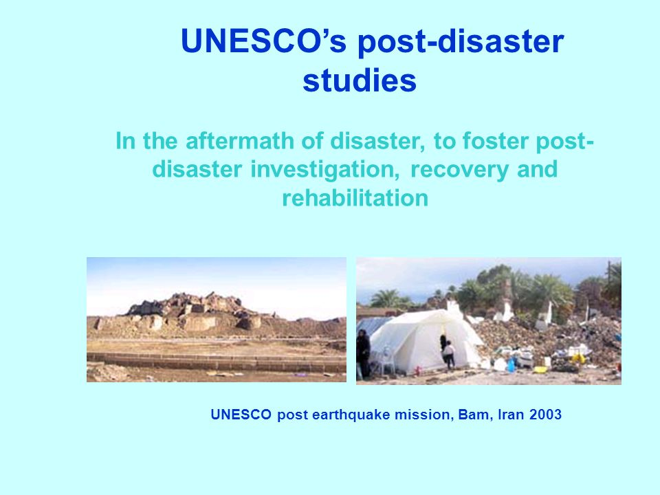 UNESCO's post-disaster studies