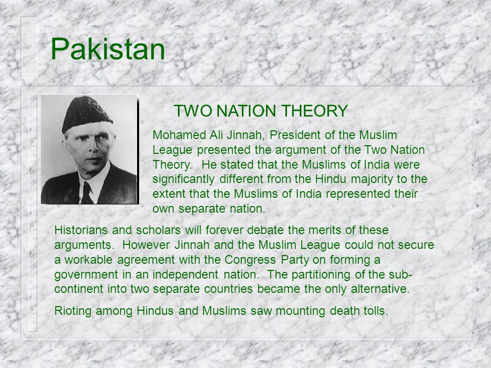Pakistan TWO NATION THEORY