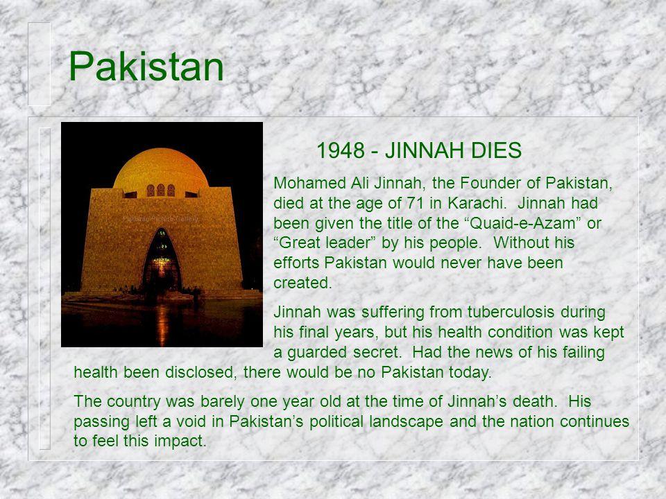 Pakistan 1948 - JINNAH DIES.