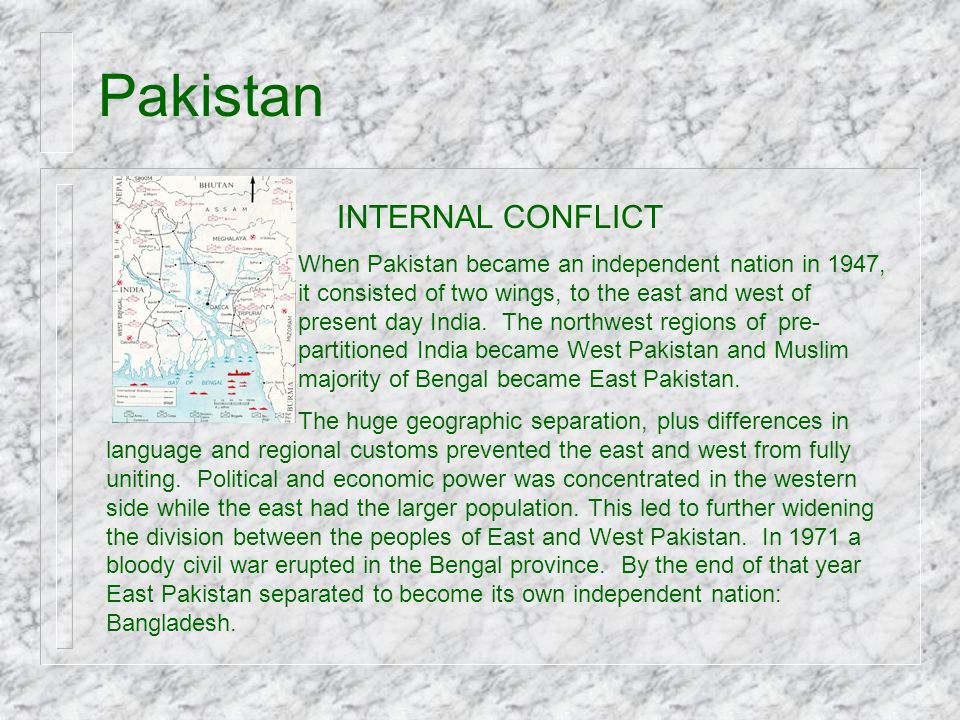 Pakistan INTERNAL CONFLICT