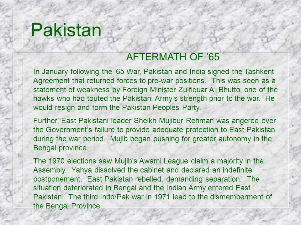Pakistan AFTERMATH OF '65