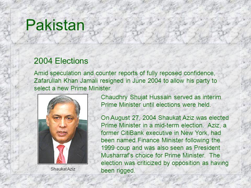 Pakistan 2004 Elections.