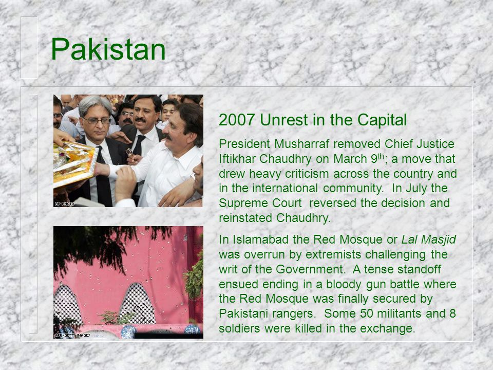 Pakistan 2007 Unrest in the Capital