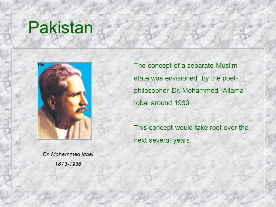 Pakistan The concept of a separate Muslim