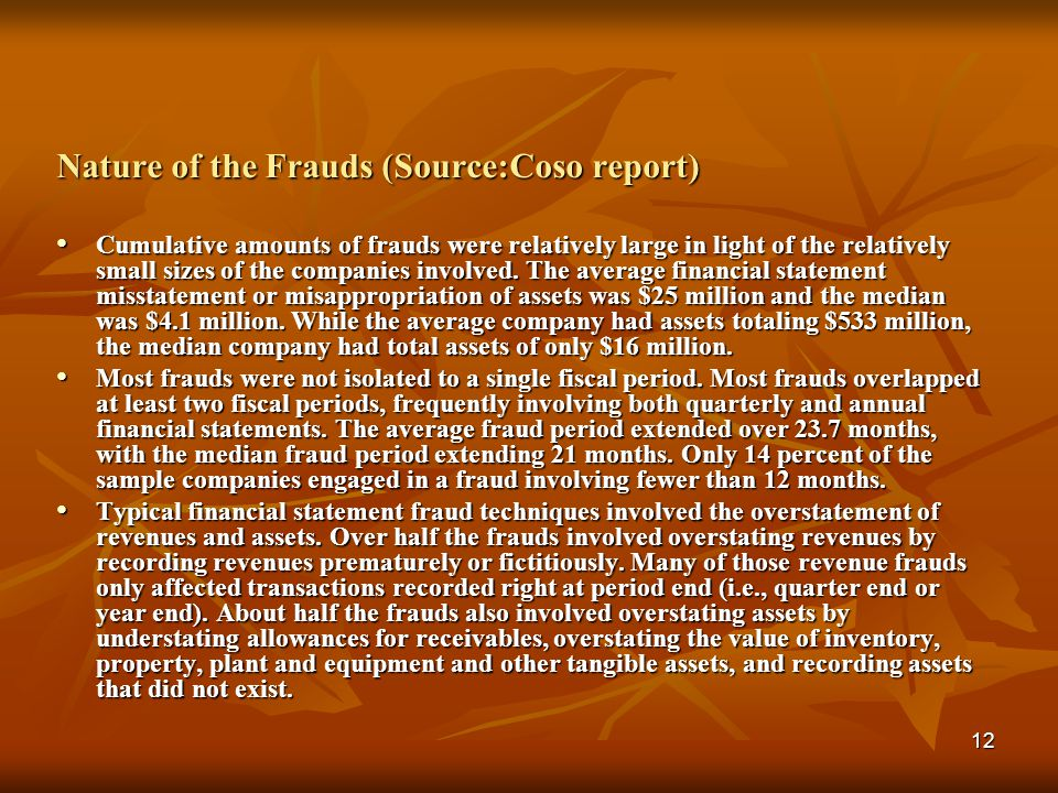 Nature of the Frauds (Source:Coso report)