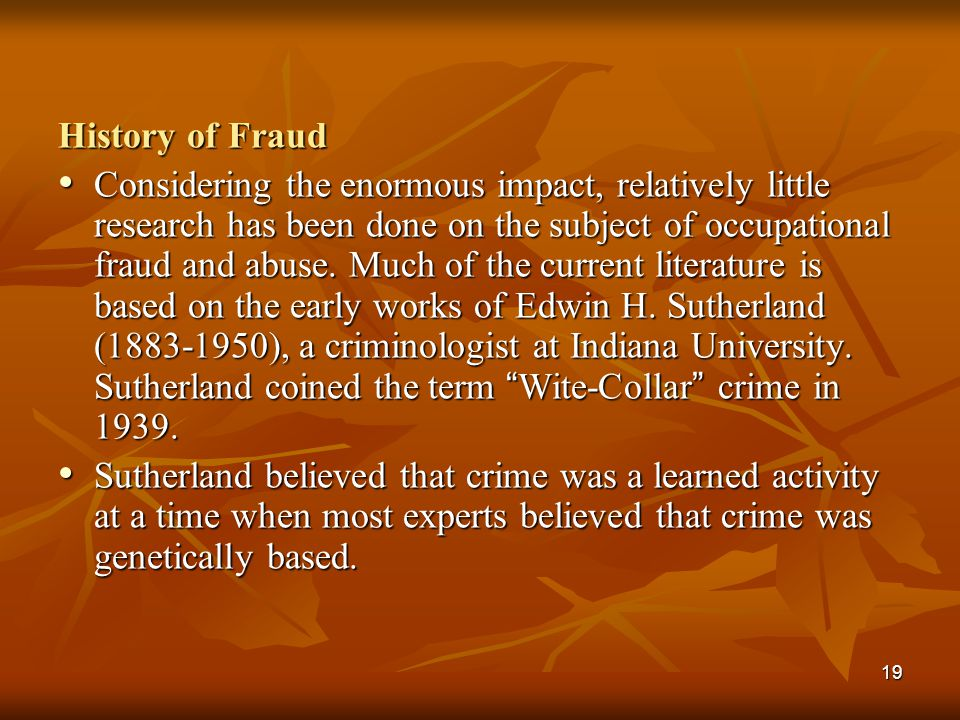 History of Fraud